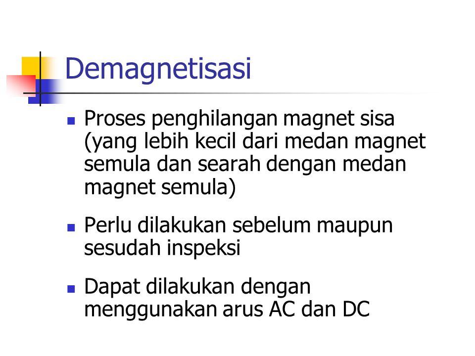 Demagnetisasi Proses penghilangan magnet sisa (yang lebih kecil dari medan magnet semula dan searah dengan medan magnet semula)