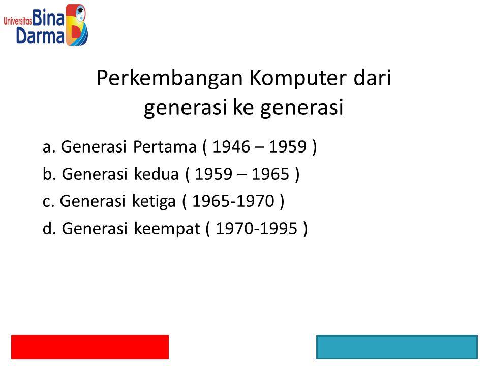 Perkembangan Komputer dari generasi ke generasi