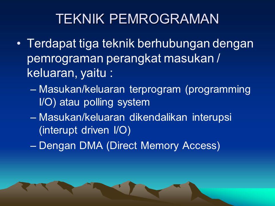 TEKNIK PEMROGRAMAN Terdapat tiga teknik berhubungan dengan pemrograman perangkat masukan / keluaran, yaitu :