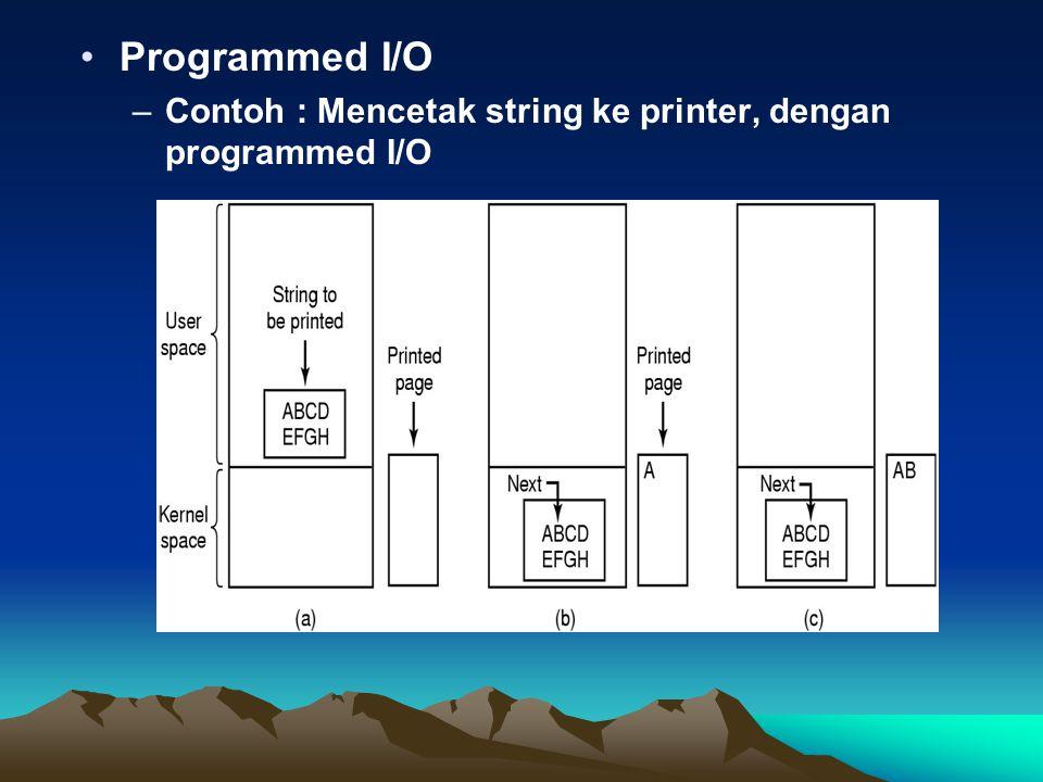 Programmed I/O Contoh : Mencetak string ke printer, dengan programmed I/O