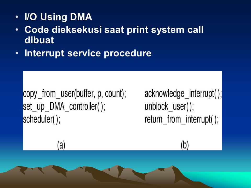 I/O Using DMA Code dieksekusi saat print system call dibuat Interrupt service procedure