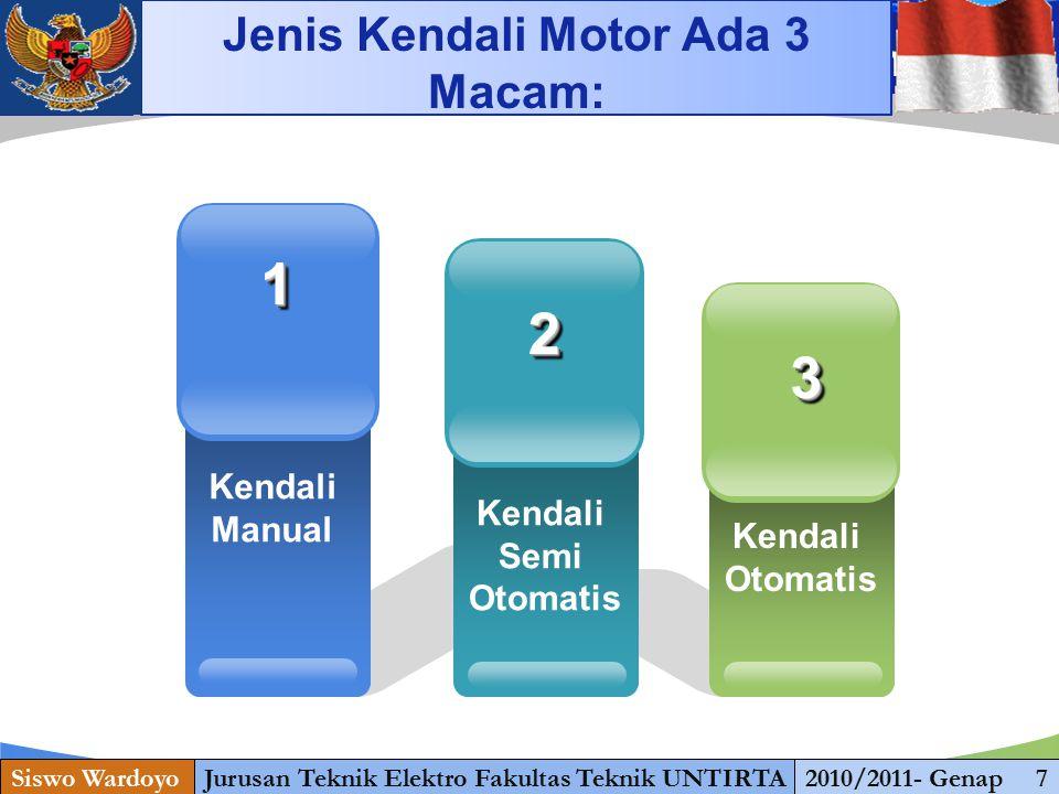 Jenis Kendali Motor ada 3 Macam: