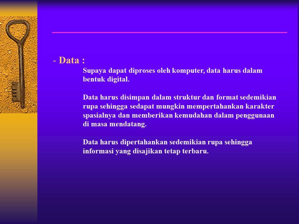 Data : Supaya dapat diproses oleh komputer, data harus dalam bentuk digital.