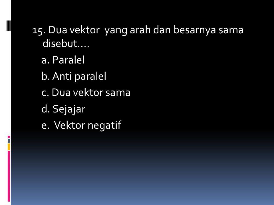 15. Dua vektor yang arah dan besarnya sama disebut. a. Paralel b