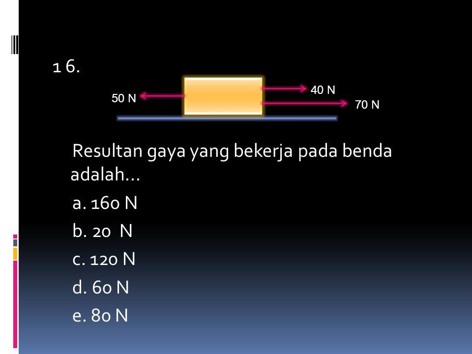 1 6. Resultan gaya yang bekerja pada benda adalah. a. 160 N b. 20 N c