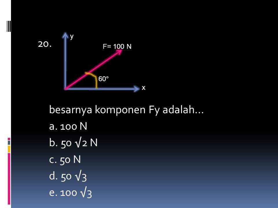y x F= 100 N 60° 20. besarnya komponen Fy adalah... a. 100 N b. 50 √2 N c. 50 N d. 50 √3 e. 100 √3