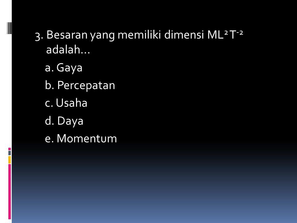 3. Besaran yang memiliki dimensi ML2 T-2 adalah. a. Gaya b