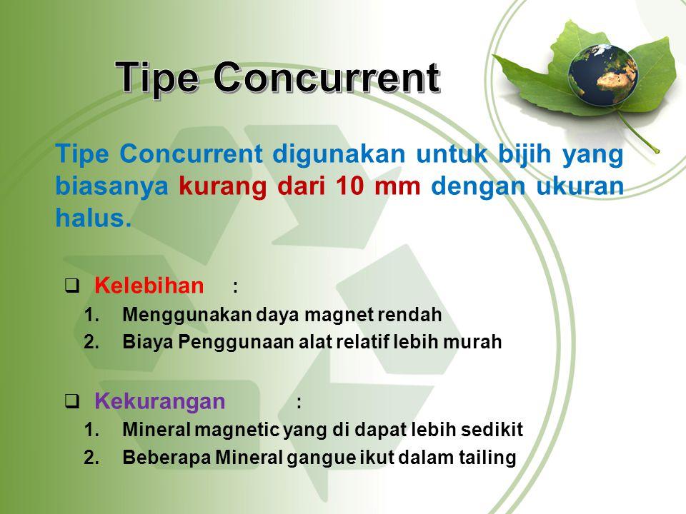 Tipe Concurrent Tipe Concurrent digunakan untuk bijih yang biasanya kurang dari 10 mm dengan ukuran halus.