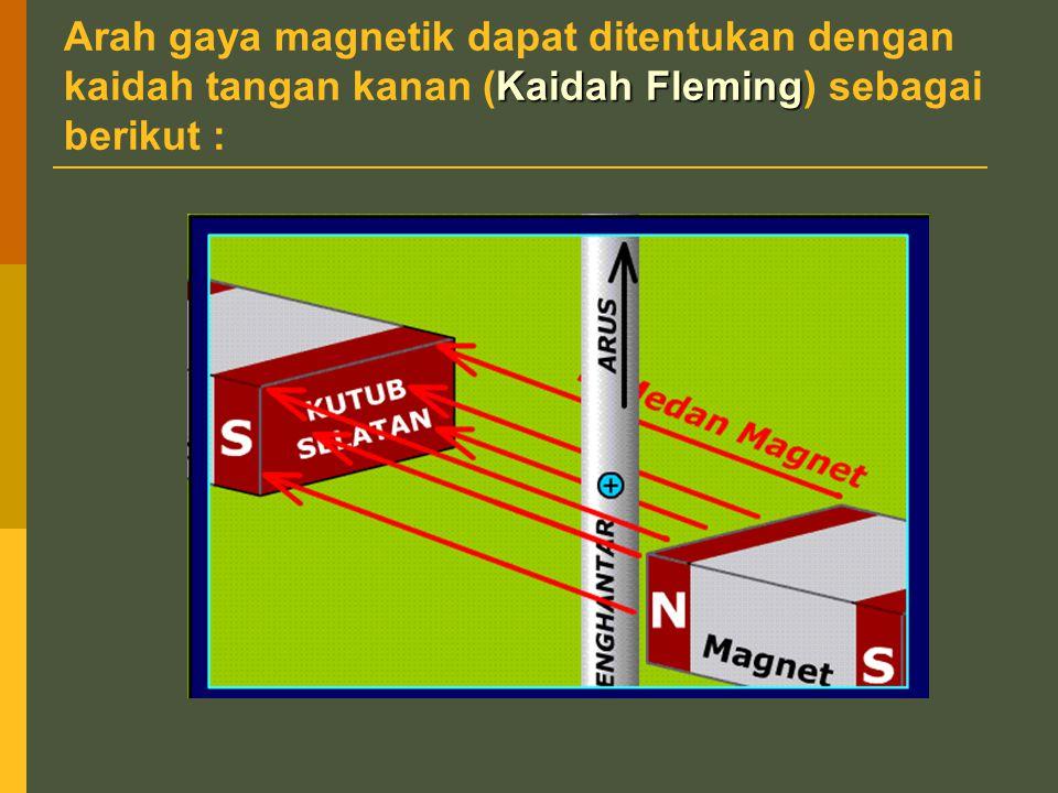 Arah gaya magnetik dapat ditentukan dengan kaidah tangan kanan (Kaidah Fleming) sebagai berikut :