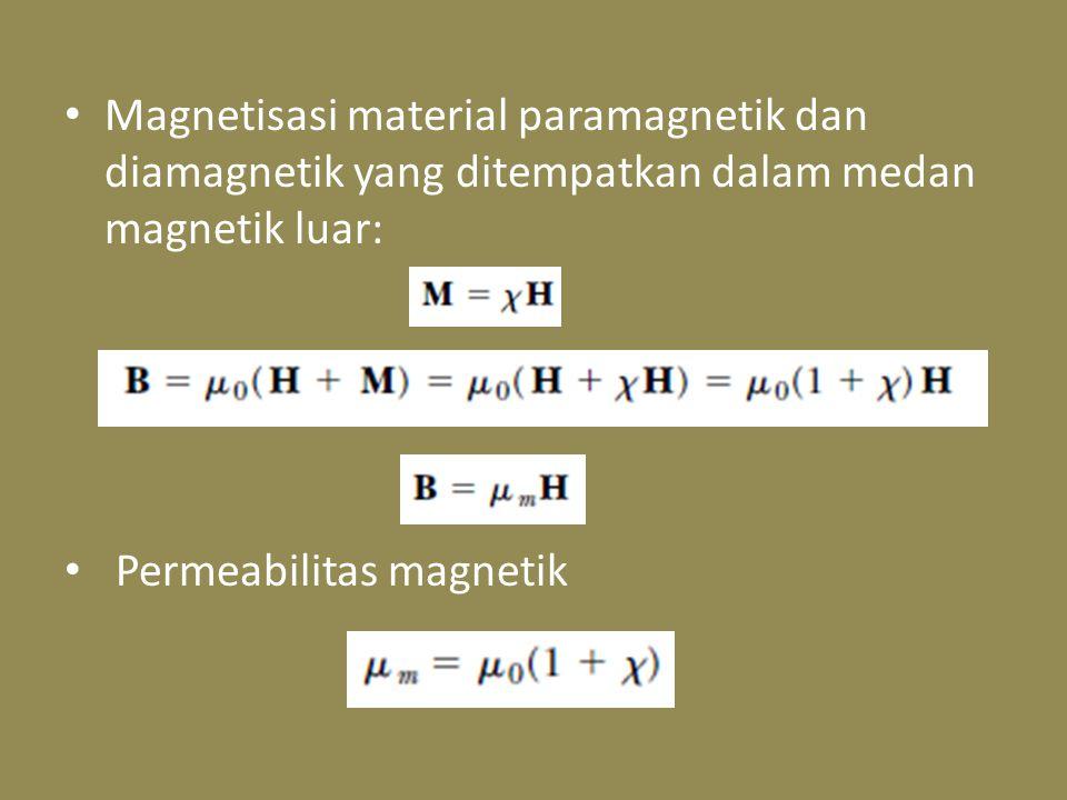 Magnetisasi material paramagnetik dan diamagnetik yang ditempatkan dalam medan magnetik luar: