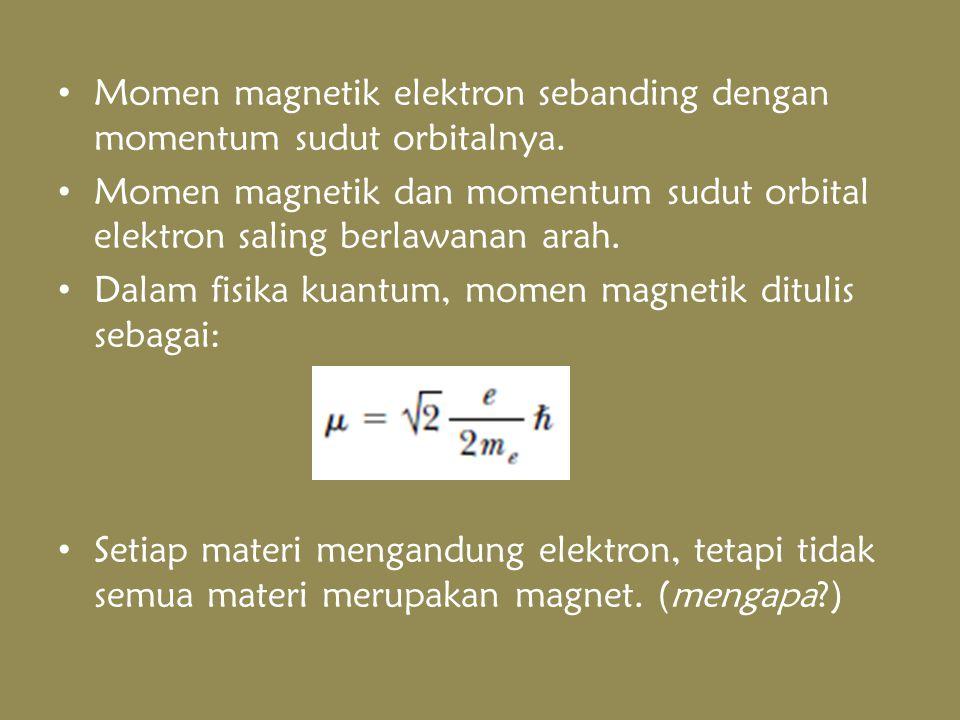 Momen magnetik elektron sebanding dengan momentum sudut orbitalnya.
