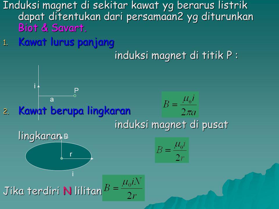 induksi magnet di titik P :