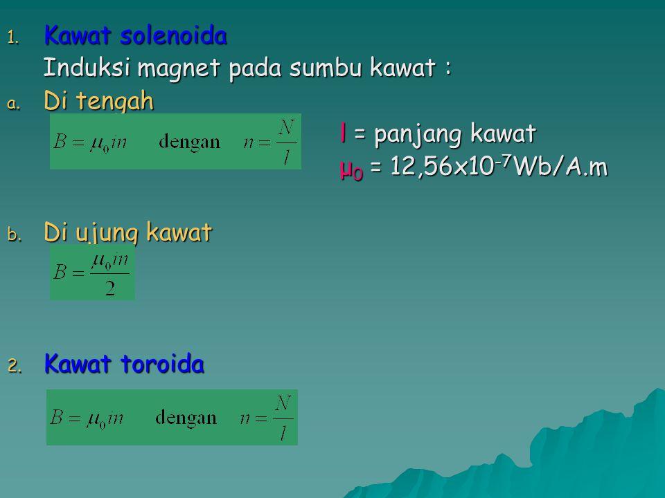 Kawat solenoida Induksi magnet pada sumbu kawat : Di tengah. l = panjang kawat. μ0 = 12,56x10-7Wb/A.m.