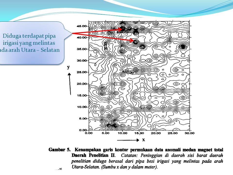 Diduga terdapat pipa irigasi yang melintas ada arah Utara – Selatan