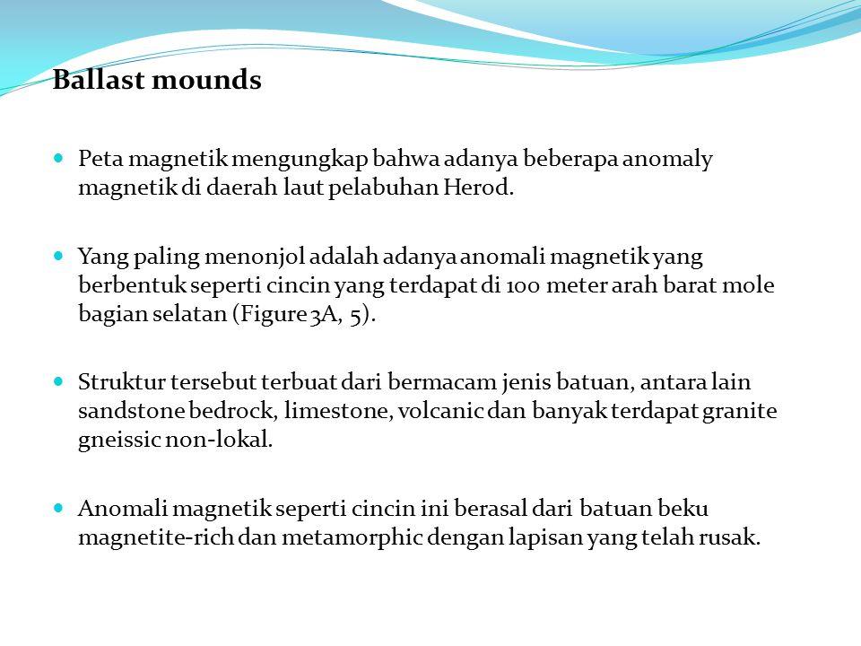 Ballast mounds Peta magnetik mengungkap bahwa adanya beberapa anomaly magnetik di daerah laut pelabuhan Herod.