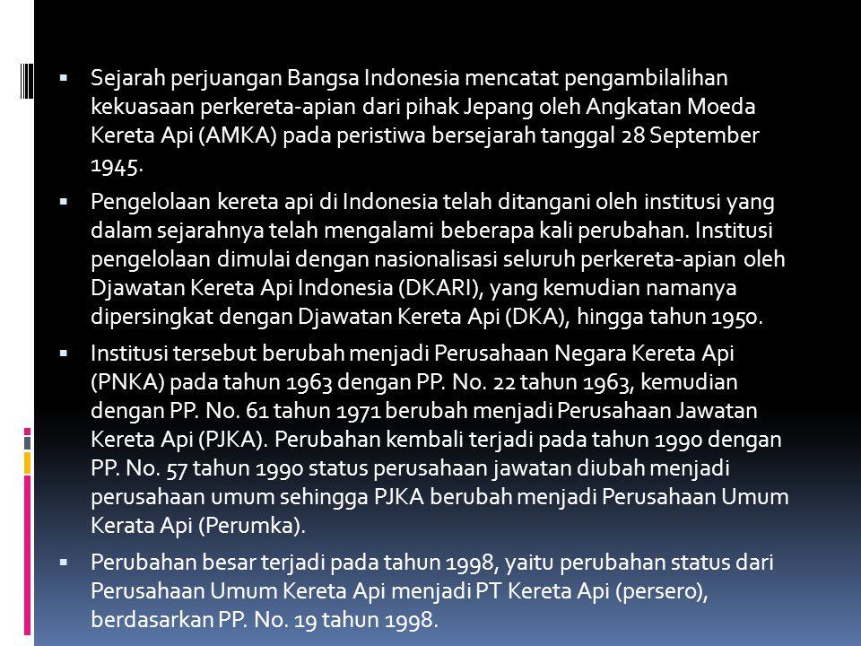 Sejarah perjuangan Bangsa Indonesia mencatat pengambilalihan kekuasaan perkereta-apian dari pihak Jepang oleh Angkatan Moeda Kereta Api (AMKA) pada peristiwa bersejarah tanggal 28 September 1945.