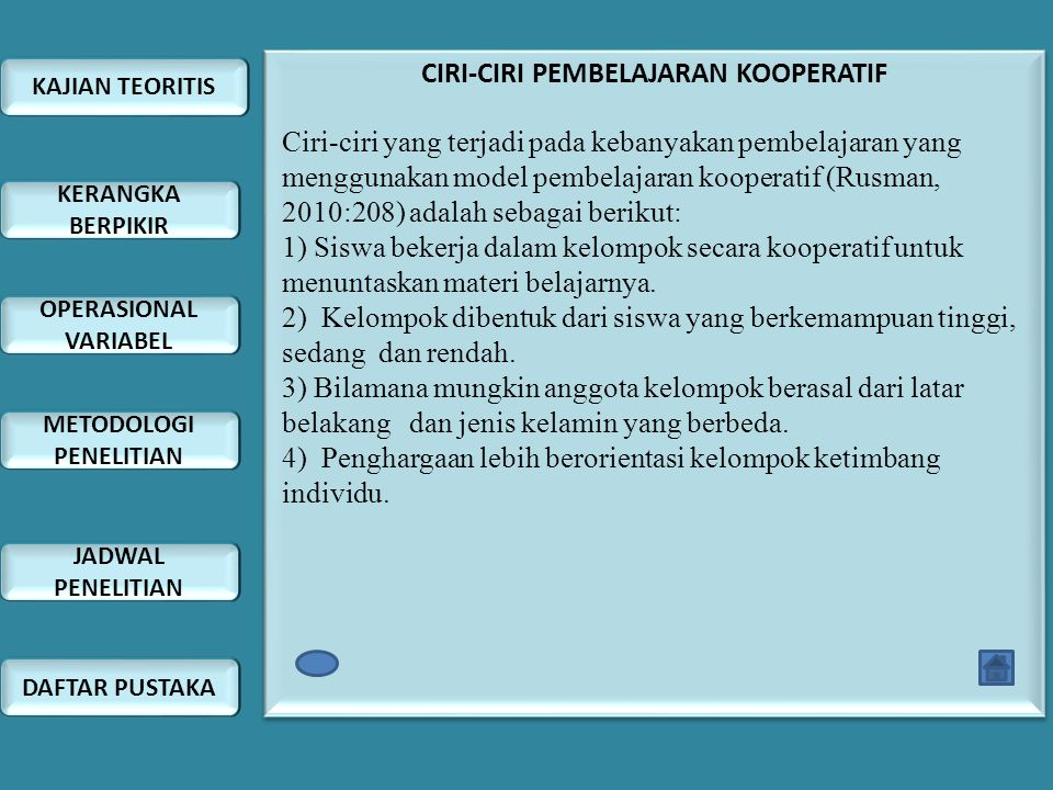 CIRI-CIRI PEMBELAJARAN KOOPERATIF