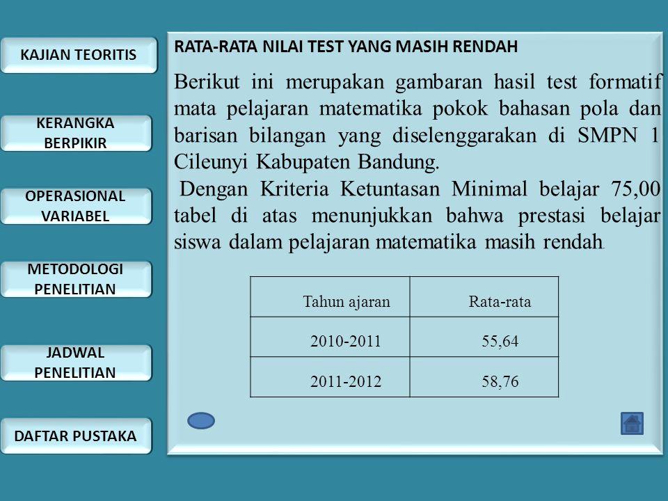 RATA-RATA NILAI TEST YANG MASIH RENDAH