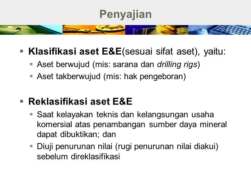 Penyajian Klasifikasi aset E&E(sesuai sifat aset), yaitu:
