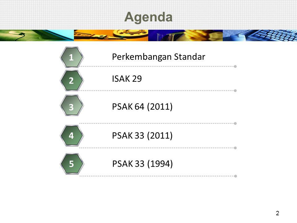 Agenda 1 Perkembangan Standar ISAK 29 2 3 PSAK 64 (2011) 4