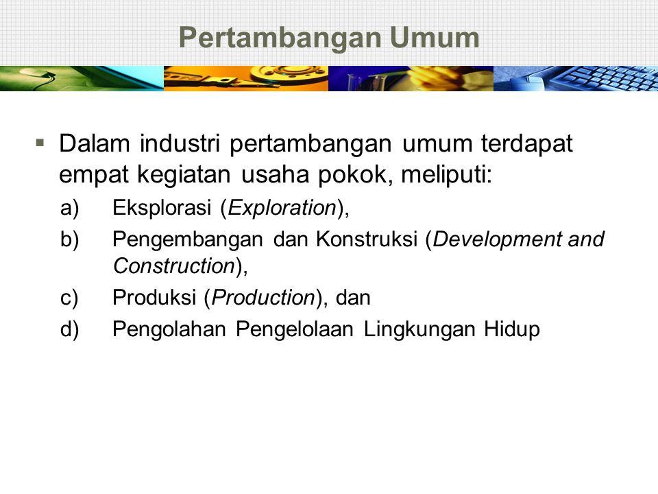 Pertambangan Umum Dalam industri pertambangan umum terdapat empat kegiatan usaha pokok, meliputi: a) Eksplorasi (Exploration),