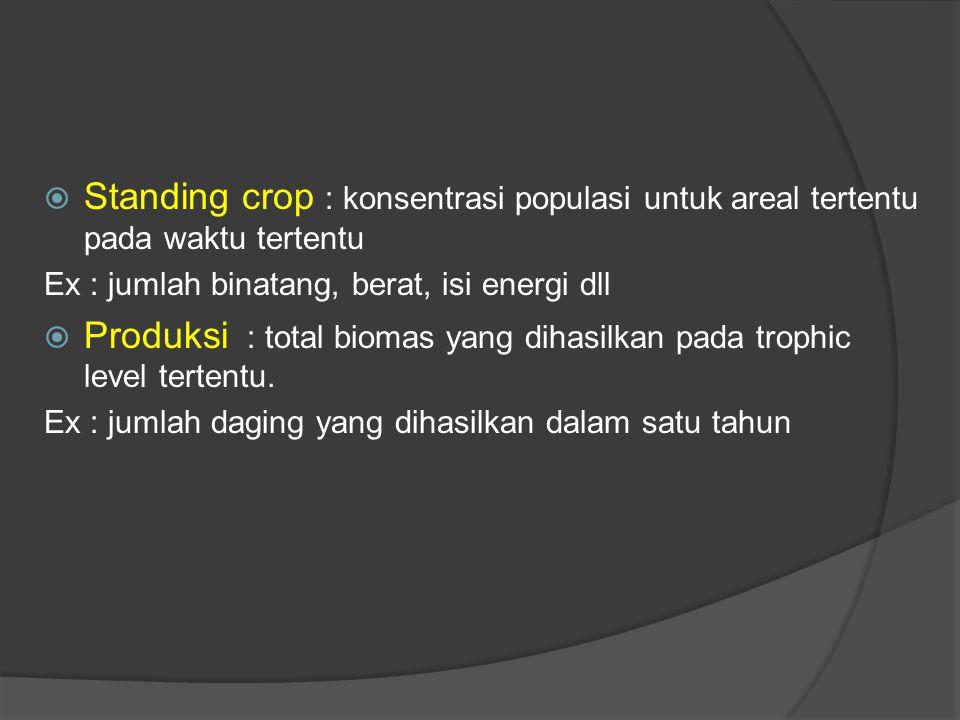 Produksi : total biomas yang dihasilkan pada trophic level tertentu.