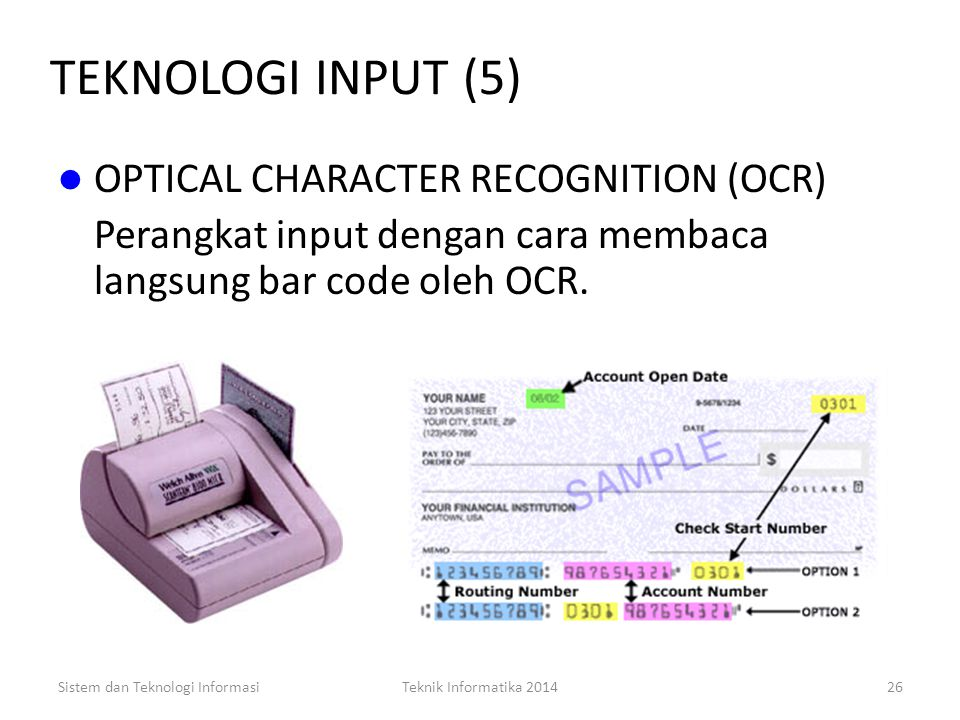 TEKNOLOGI INPUT (5) OPTICAL CHARACTER RECOGNITION (OCR)
