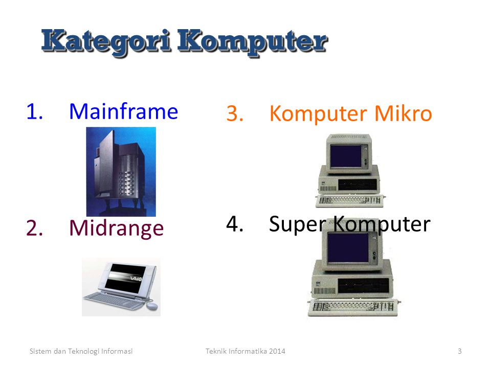 Kategori Komputer Mainframe Komputer Mikro Super Komputer Midrange