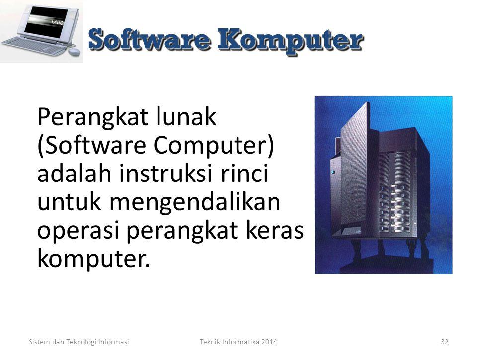 Software Komputer Perangkat lunak (Software Computer) adalah instruksi rinci untuk mengendalikan operasi perangkat keras komputer.