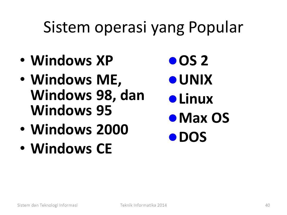 Sistem operasi yang Popular