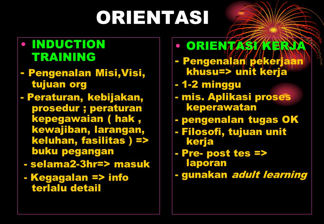 ORIENTASI INDUCTION TRAINING - Pengenalan Misi,Visi, tujuan org