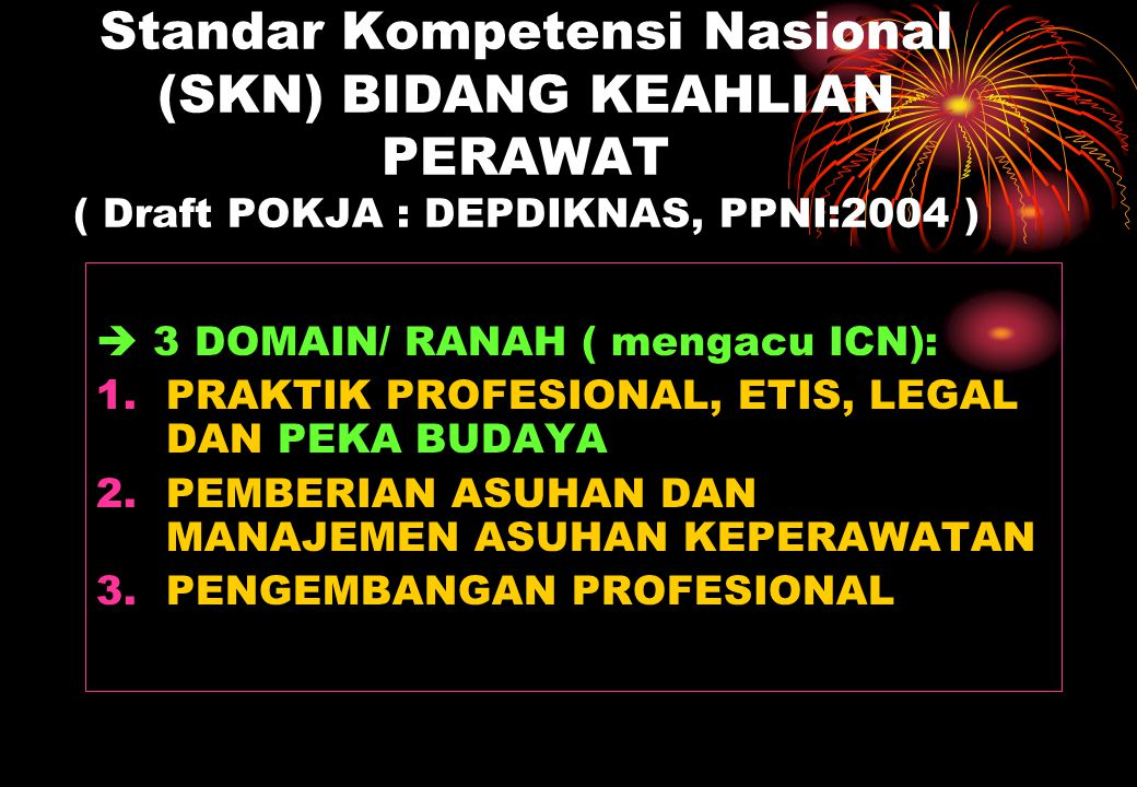 Standar Kompetensi Nasional (SKN) BIDANG KEAHLIAN PERAWAT ( Draft POKJA : DEPDIKNAS, PPNI:2004 )