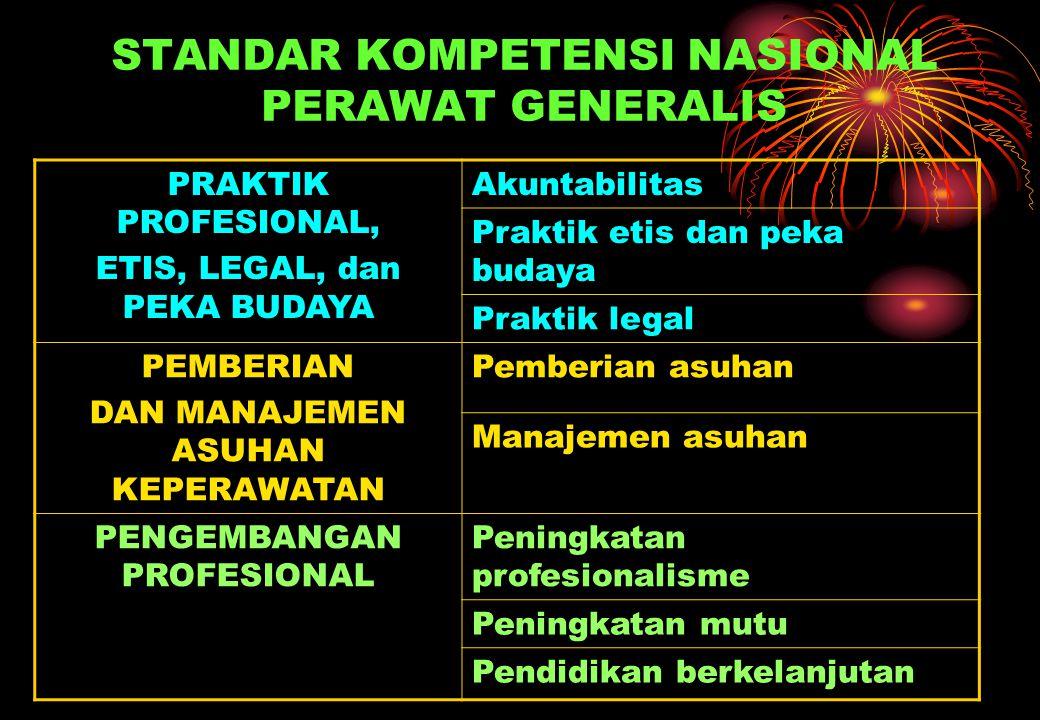 STANDAR KOMPETENSI NASIONAL PERAWAT GENERALIS