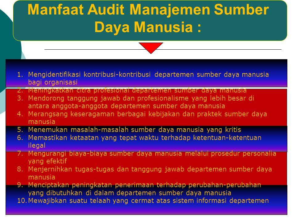 Manfaat Audit Manajemen Sumber Daya Manusia :
