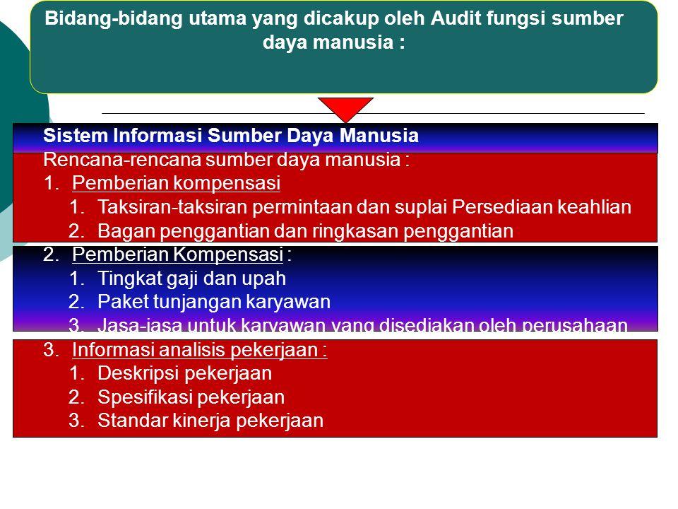 Bidang-bidang utama yang dicakup oleh Audit fungsi sumber daya manusia :