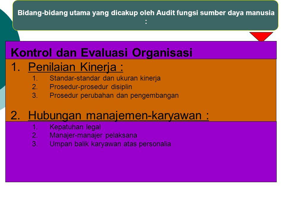 Kontrol dan Evaluasi Organisasi Penilaian Kinerja :