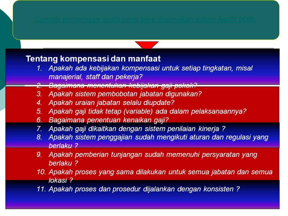 Contoh pertanyaan audit yang bisa digunakan dalam Audit SDM.