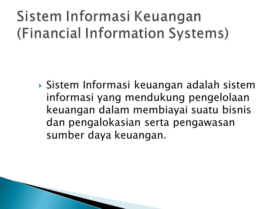 Sistem Informasi Keuangan (Financial Information Systems)