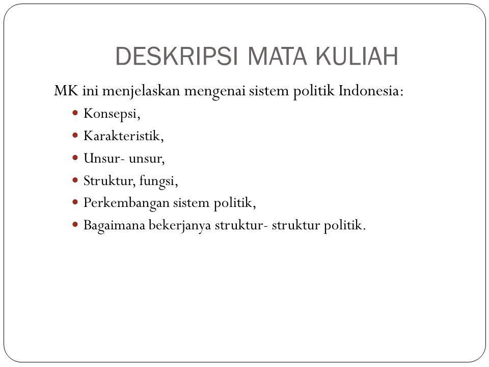 DESKRIPSI MATA KULIAH MK ini menjelaskan mengenai sistem politik Indonesia: Konsepsi, Karakteristik,