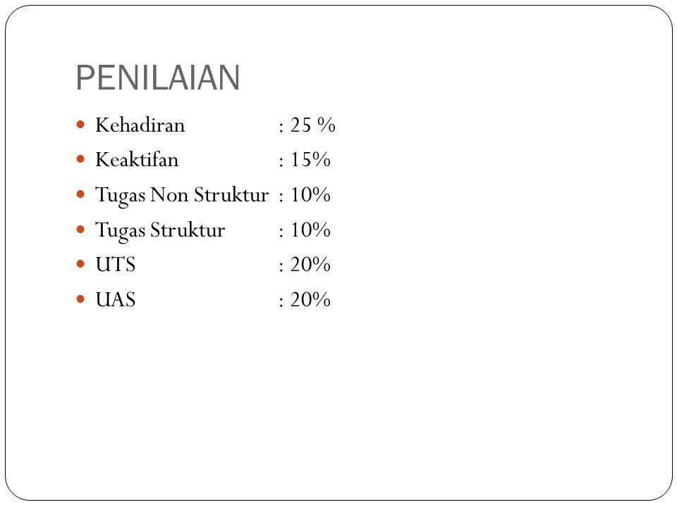 PENILAIAN Kehadiran : 25 % Keaktifan : 15% Tugas Non Struktur : 10%