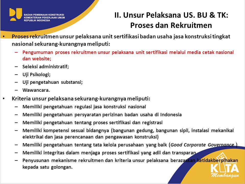II. Unsur Pelaksana US. BU & TK: Proses dan Rekruitmen