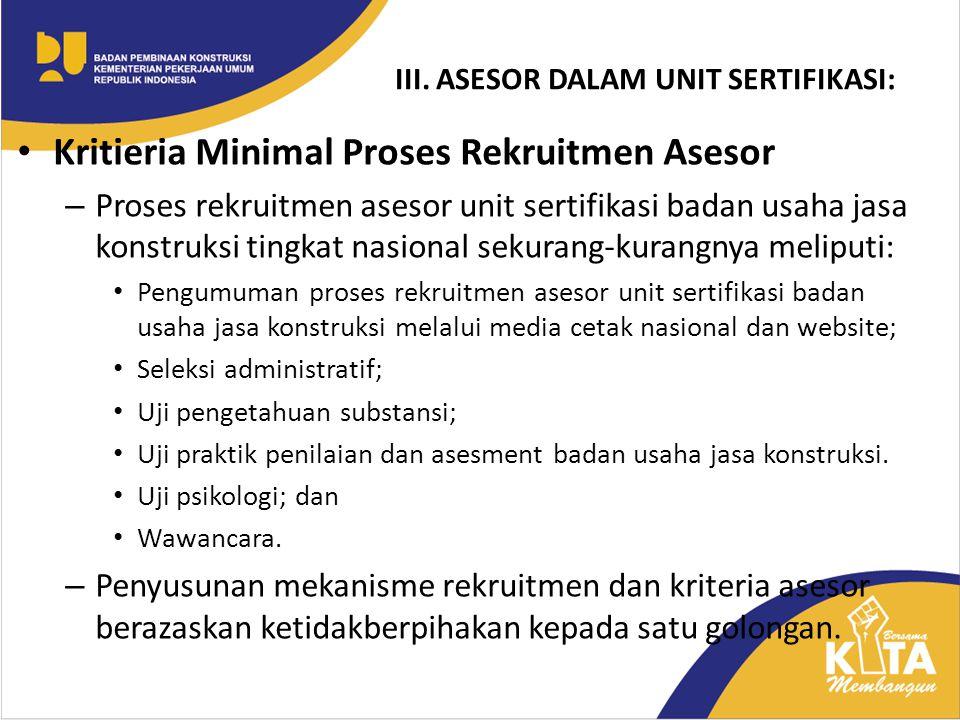 Kritieria Minimal Proses Rekruitmen Asesor