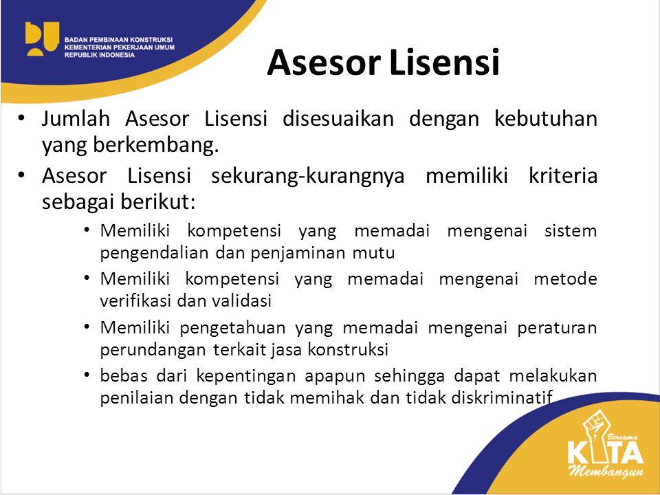 Asesor Lisensi Jumlah Asesor Lisensi disesuaikan dengan kebutuhan yang berkembang.