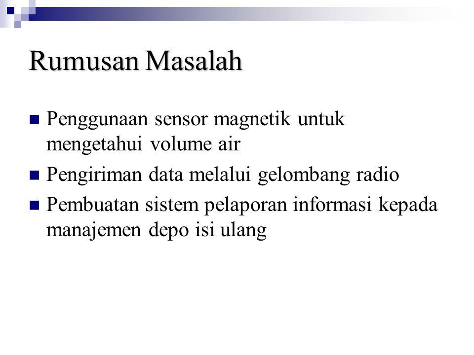 Rumusan Masalah Penggunaan sensor magnetik untuk mengetahui volume air