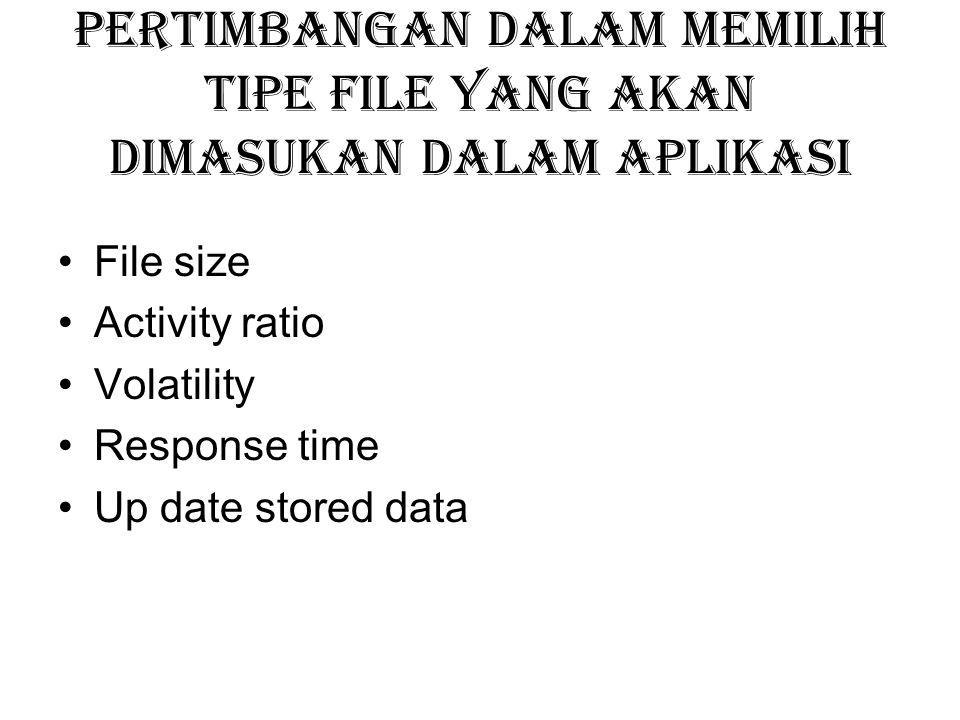 Pertimbangan dalam memilih tipe file yang akan dimasukan dalam aplikasi