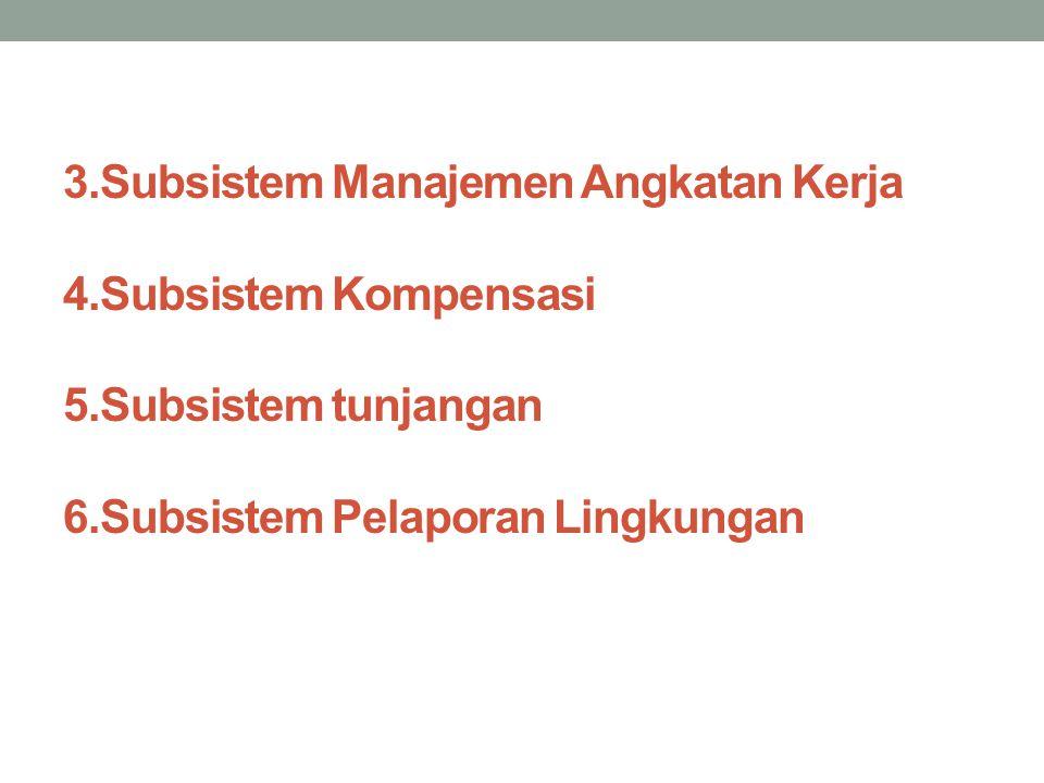 3. Subsistem Manajemen Angkatan Kerja 4. Subsistem Kompensasi 5