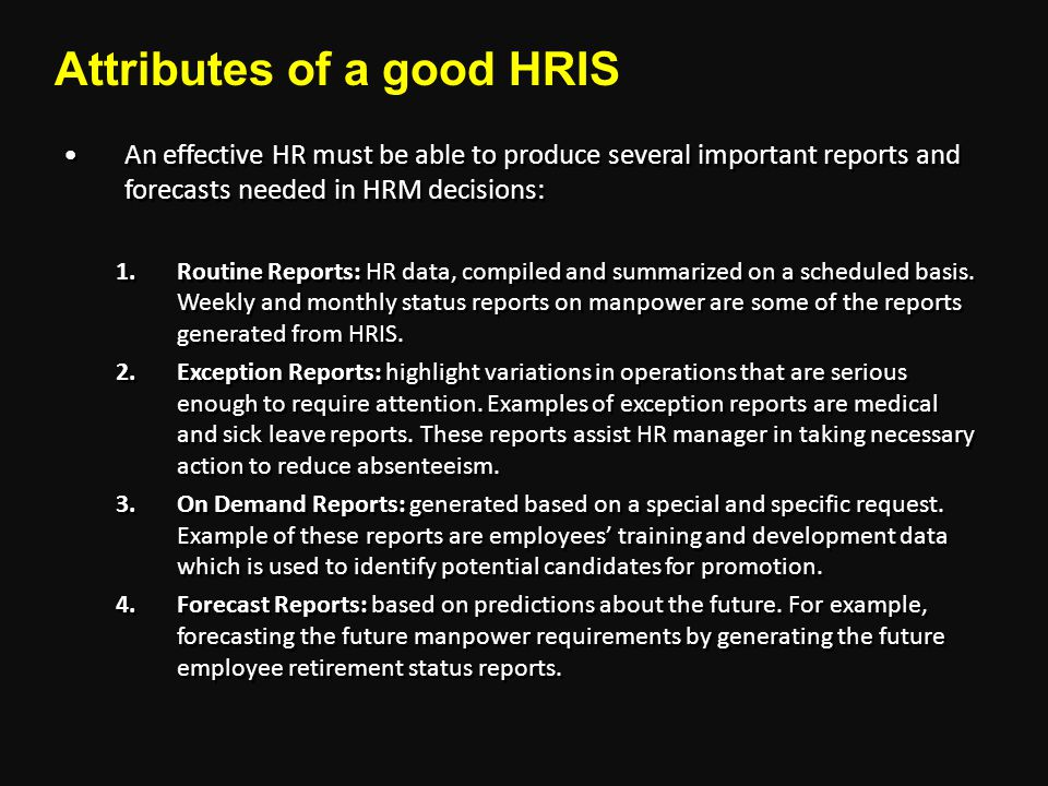 Attributes of a good HRIS