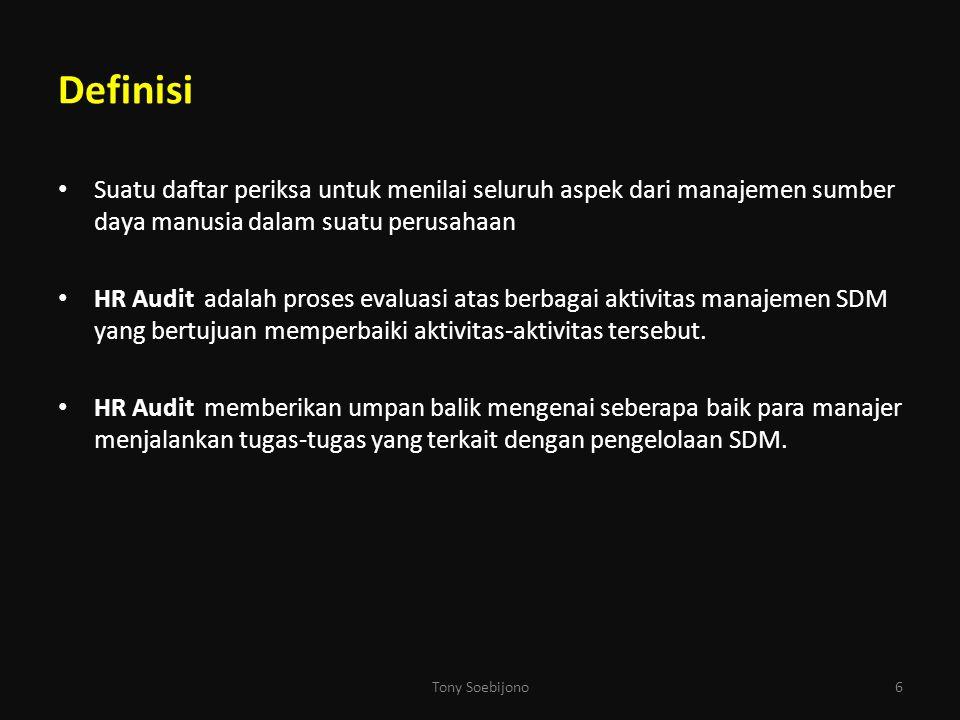 Definisi Suatu daftar periksa untuk menilai seluruh aspek dari manajemen sumber daya manusia dalam suatu perusahaan.