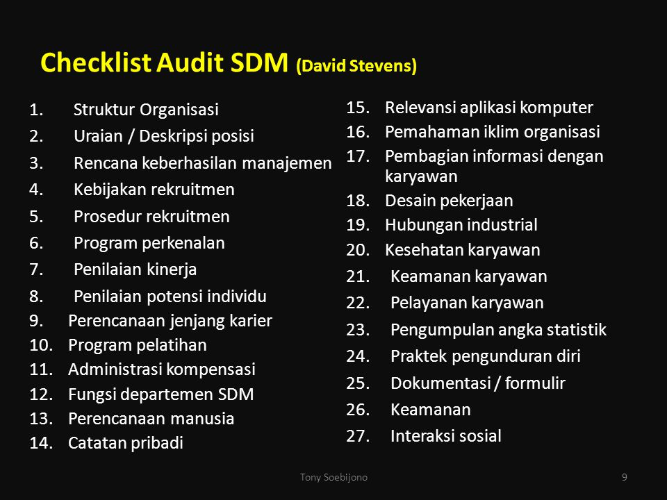 Checklist Audit SDM (David Stevens)
