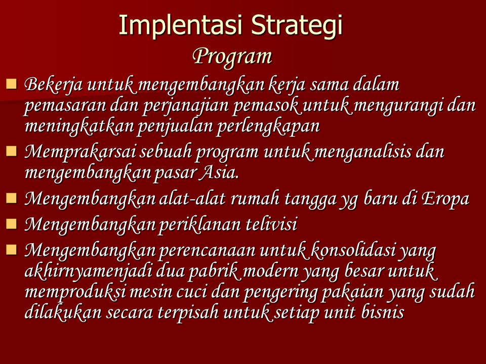 Implentasi Strategi Program